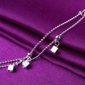 Jewelry - NEW 925 Sterling Silver Simple Cube Anklet